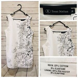 TRENT NATHAN Size 16 White Floral Shift Dress