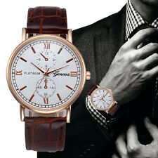 Men's Chronograph Designer Rose Gold Watch with Crocodile Effect Leather Strap