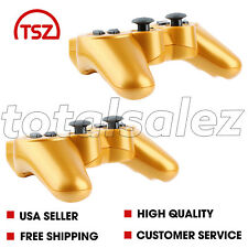 2 For Sony Playstation 3 PS3 Gold Wireless Bluetooth Video Game Controller