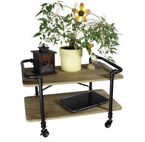 Beistelltisch mit Rollen Couchtisch Rollwagen braun Sofa Tisch Kaffeetisch Holz