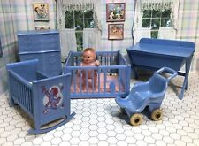 Renwal BLUE NURSERY & BABY DOLL Vintage Dollhouse Furniture Ideal Plastic 1:16