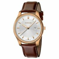 Wenger Men's Watch City Classic Silver Tone Dial Brown Strap 01.1441.107