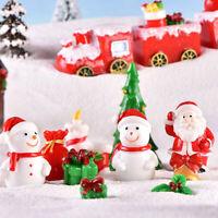 Christmas Miniature Santa Claus Snowman Sled Reindeer Figurines Snow Landscap_ti