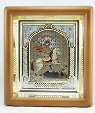 Saint George The Dragon Slayer With Stones Icon In Wood Frame Святой Георгий