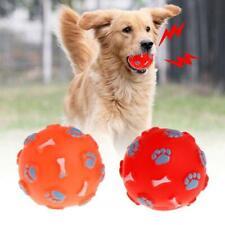 New listing Rubber Ball Squeaky Bone Footprint Play Funny Balls Fetch Cat Dog Molar Chew Toy