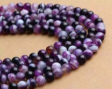 """Wholesale Natural Color Stripe Agate Onyx Gems Round Loose Beads Stone 15""""5"""