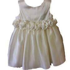 Branded Christening Communion Baby Girl Dress Rose Bud Trim Lace Mesh Overlay