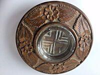 "Vintage set glass ashtray exotic carved wood bowl flying saucer 8""x 1.25"""