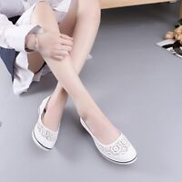 Breathable Nurse Shoes Womens Canvas Sneaker Wedge Heels Hollow Out Pumps Casual