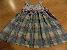 Girls Size 4 Bonnie Jean Aqua & Lilac Purple Plaid Summer Dress White Eyelet GUC