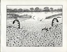 Kliban Cats, Ambush in the Flowers. Vintage 1981 print. 9 x 11