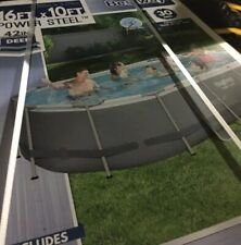 """Bestway 56655E 16'x10'x42"""" ; Oval Frame Swimming Pool Set with Pump Ladder"""