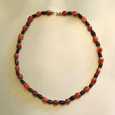 Ancient Egyptian-Roman Agate & verre étiré Perles Collier Bijoux Plaqué Or