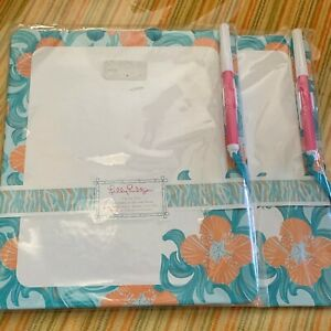 New Package Lilly Pulitzer Write On Dry Erase Board Blue Orange Do The Wave PEN