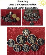 Vintage Rare Italian Raging Lion Rampant Blue and Silver Metal Button Lot of 8