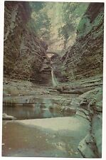 CENTRAL CASCADE Watkins Glen State Park NY Postcard Finger Lakes Poet's Dream