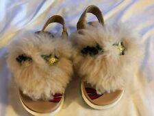 UGG Kids Girls YOUTH Punki Back Strap Sandals Natural/Soft Ochre Sz 10 Fluffy