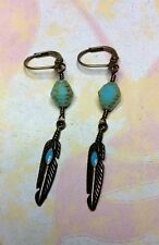 Czech Bead Turquoise Bronze Feather SOUTHWEST Artisan Earrings
