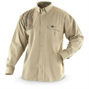 Mossy Oak Long Sleeve Shooter Shirt Khaki Camo Patch Button Front Size 2XL