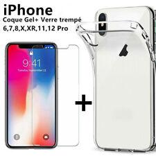 Verre Trempé Film Vitre Protection + Coque iPhone 6 7 8 11 12 Pro Max XS XR SE
