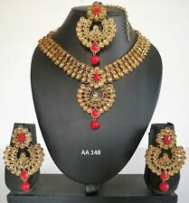 Wedding Bridal Necklace Earrings Sets 148 Indian Fashion Kundan Gold Red Jewelry