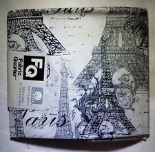 """Fabric Quarters Paris France Eiffel Tower 18"""" x 21"""" 100% Cotton New"""