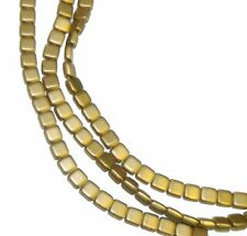 Matte Metallic Flax 6mm Square Glass Czech Two Hole Tile Bead 25 Beads