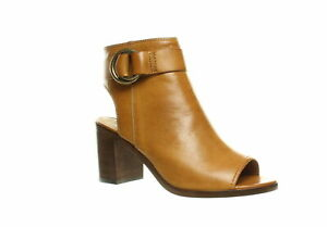 Frye Womens Danica Brown Smooth Vintage Leather Open Toe Booties Size 8