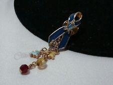 NIB Beautiful Kirks Folly Blue Enamel Autism Awareness Beaded Crystal Brooch Pin