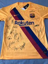 Mano Firmado Barcelona Camiseta de fútbol 2019/20 Lejos Camiseta x18 Messi Suarez