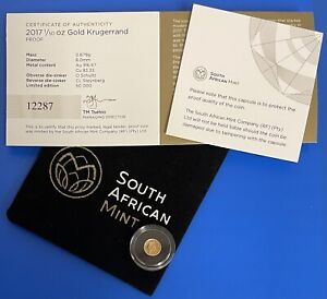 2017 SOUTH AFRICA 1/50 OZ. GOLD PROOF KRUGERRAND- 50TH ANNIVERSARY W:COA