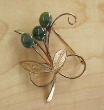 Jade Flower Brooch Pin Beautiful Vintage Gold Toned