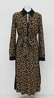 HOBBS Ladies Multi Brown Leopard Print Georgiana Belted Shirt Dress UK10 NEW