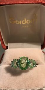 Estate Peridot Band Ring  18kt. Gold Over   Sz 7