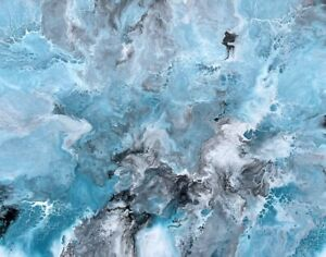 ABSTRACT ORIGINAL PAINTING READY TO HANG TEAL SILVER BLACK WHITE AUSTRALIAN ART