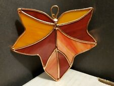 Vintage Stained Glass Copper Red Orange Yellow Autumn Leaf Suncatcher Ornament