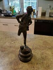 "Vintage Bronze Kicking Soccer Football Player Boy Figurine by Maitland Smith 12"""