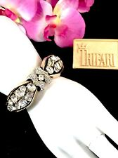 CROWN TRIFARI GOLD-TONE CRYSTAL RHINESTONE JEWELED SYMPHONY HINGED CUFF BRACELET