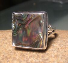 Sterling silver 925 chunky abalone shell ring UK O-O½/US 7.5. Gift Bag.