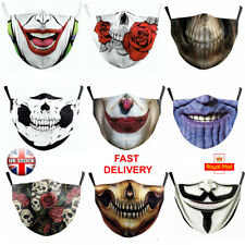 Mouth Face Mask Washable Adult Reusable UK STOCK + 2 FREE FILTERS Joker Skull