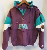 Vintage Mighty Ducks Starter Jacket Quarter Zip Pullover W/ Hood NHL Size M
