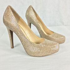 Jessica Simpson Womens Gold Sparkly Platform Pump Heels Sz 9