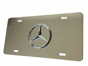 SILVER Mirror License Plate 3D Tag For Mercedes-Benz