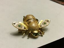Bee Pin/Brooch-Green/Purple-Stones-Goldtone-Marbleized Body-FREE SHIPPING/Unique