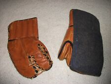 VINTAGE SET MASTERCRAFT LEATHER HOCKEY GOALIE GLOVES FROM THE LATE 1940'S-1950'S