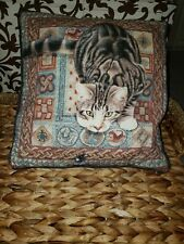 "13x13"" Tabby CAT throw Pillow about to pounce clean euc smoke free not displayed"