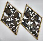 Vtg 1971 Burwood Diamond SUNFLOWER Butterflies GOLD Plaque Wall Hanging Set 2