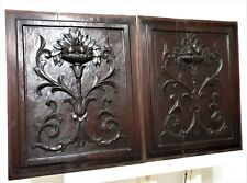 Farmhouse scroll leaves panel antique french hand carved wood salvaged furniture