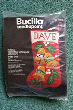 """Jingle Bells 18"""" Xmas Stocking Needlepoint Kit Sealed Bucilla Painted 6 Mesh Vtg"""