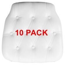 10 Pack Hard White Tufted Vinyl Chiavari Chair Seat Cushion For Resin Chair